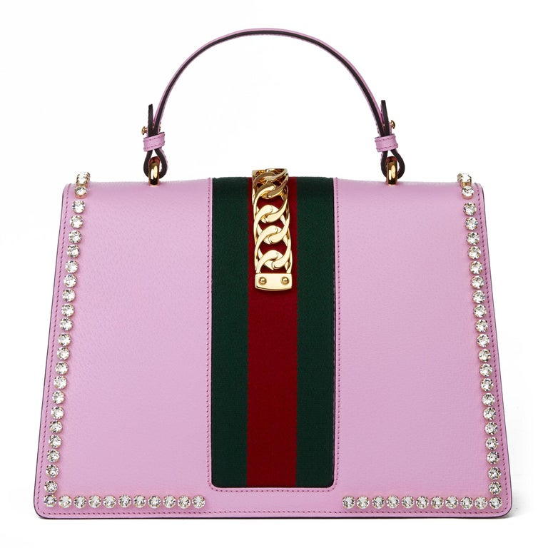 2019 Gucci Pink Pigskin Leather Crystallised Medium Sylvie Top Handle  1