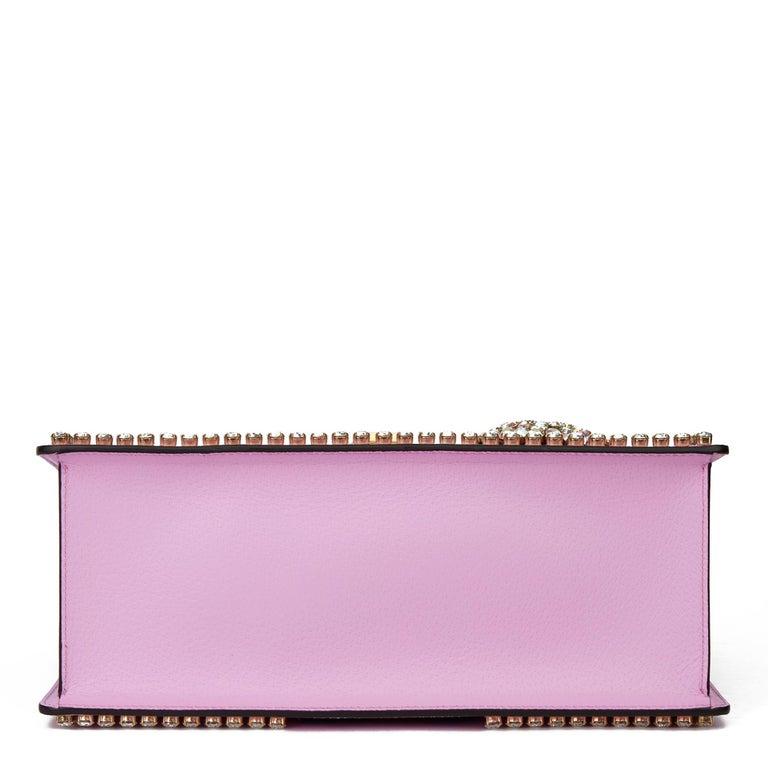 2019 Gucci Pink Pigskin Leather Crystallised Medium Sylvie Top Handle  2