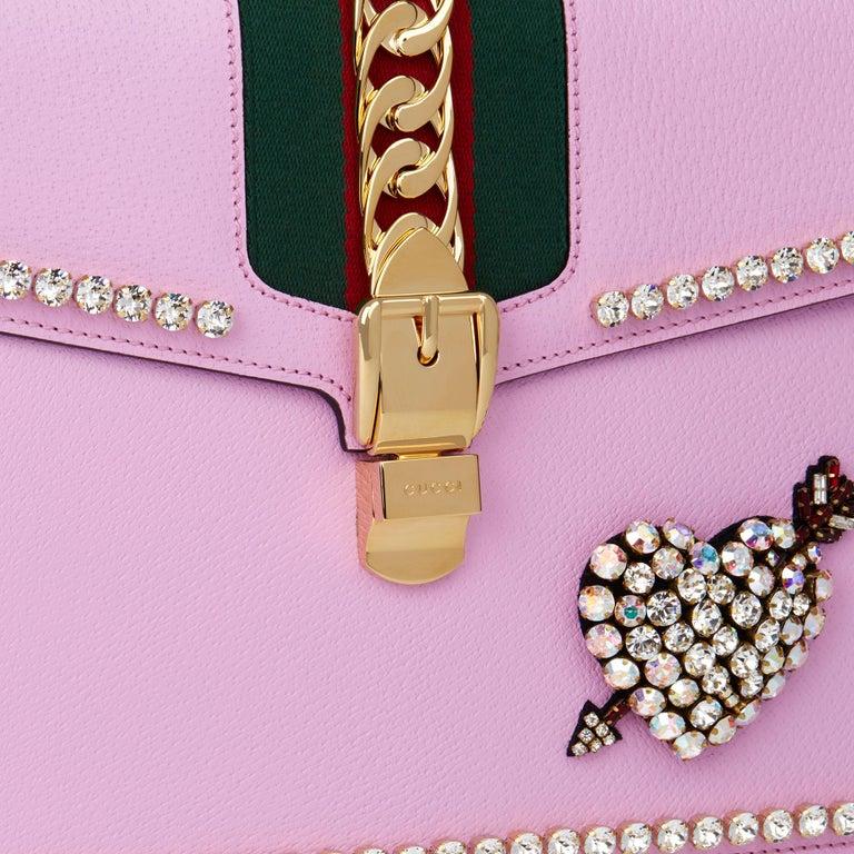2019 Gucci Pink Pigskin Leather Crystallised Medium Sylvie Top Handle  3