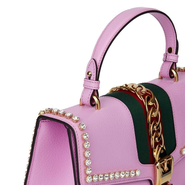 2019 Gucci Pink Pigskin Leather Crystallised Medium Sylvie Top Handle  4