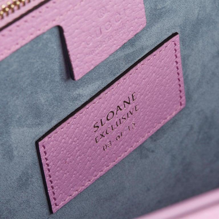 2019 Gucci Pink Pigskin Leather Crystallised Medium Sylvie Top Handle  5