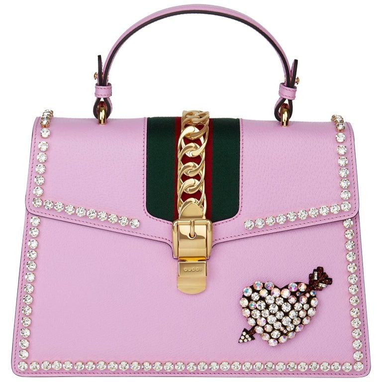 2019 Gucci Pink Pigskin Leather Crystallised Medium Sylvie Top Handle
