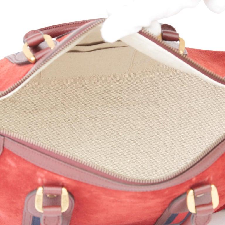 2019 Gucci Red Suede & Burgundy Pigskin Web Medium Duffle Bag For Sale 6