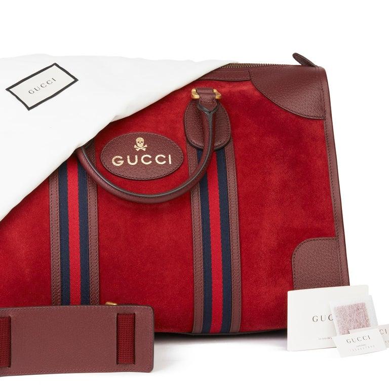 2019 Gucci Red Suede & Burgundy Pigskin Web Medium Duffle Bag For Sale 7