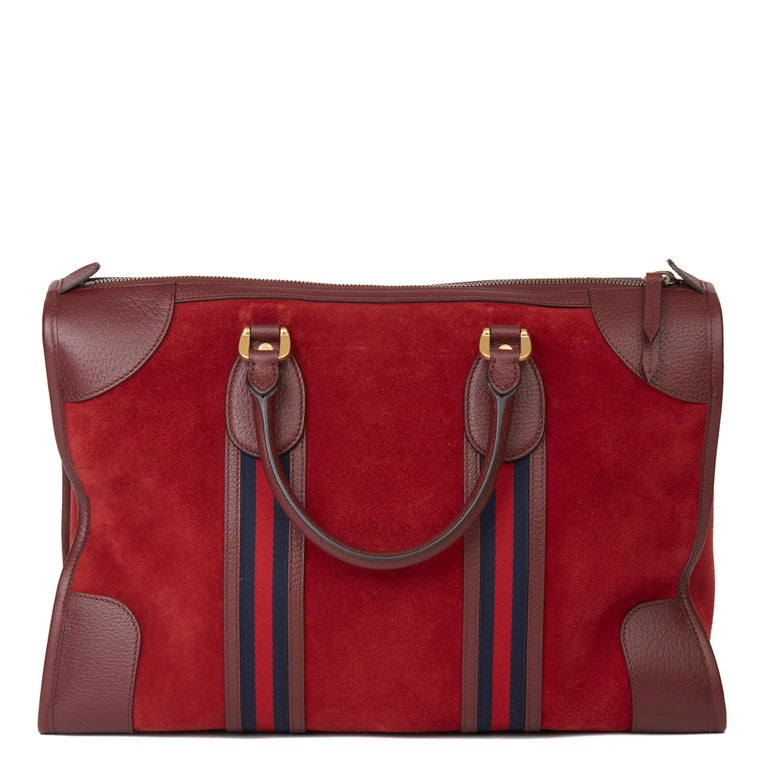Women's or Men's 2019 Gucci Red Suede & Burgundy Pigskin Web Medium Duffle Bag For Sale