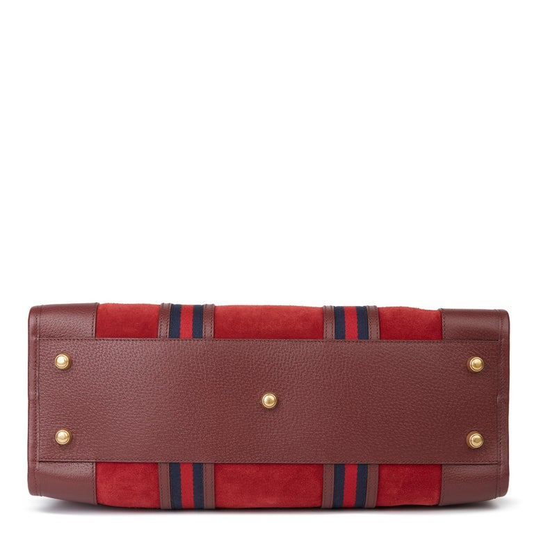 2019 Gucci Red Suede & Burgundy Pigskin Web Medium Duffle Bag For Sale 1