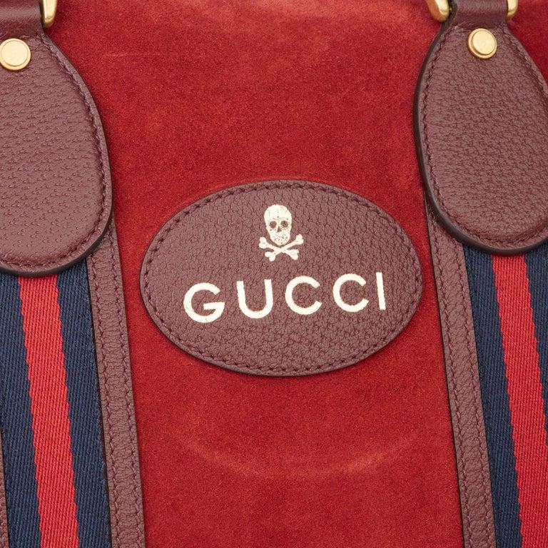 2019 Gucci Red Suede & Burgundy Pigskin Web Medium Duffle Bag For Sale 2