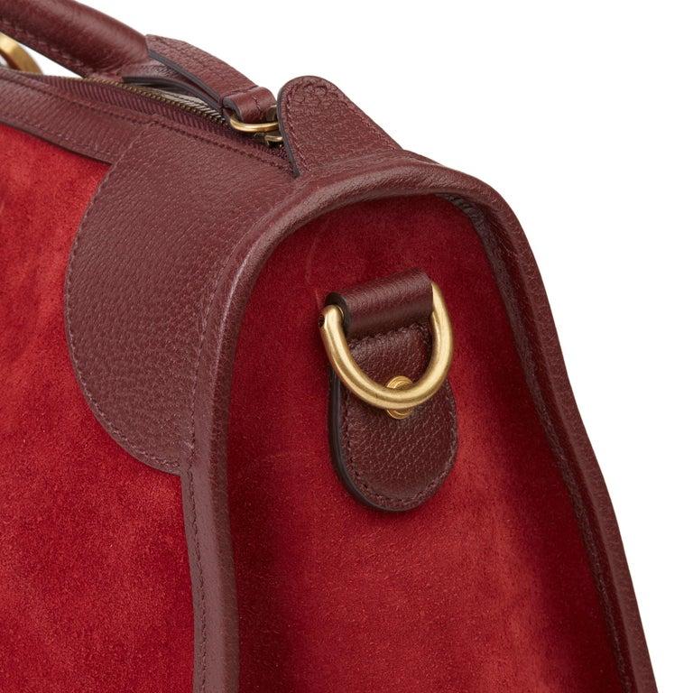 2019 Gucci Red Suede & Burgundy Pigskin Web Medium Duffle Bag For Sale 3