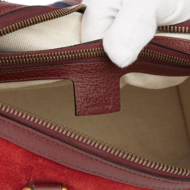 2019 Gucci Red Suede & Burgundy Pigskin Web Medium Duffle Bag For Sale 4