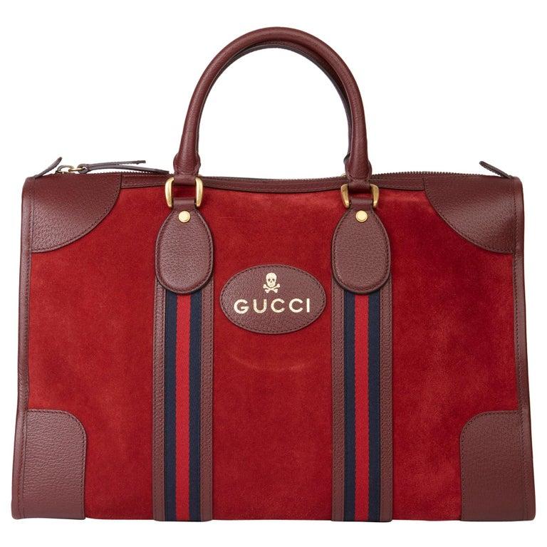2019 Gucci Red Suede & Burgundy Pigskin Web Medium Duffle Bag For Sale