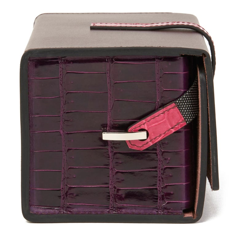 HERMÈS Amethyst Vache Hunter Cowhide & Shiny Porosus Crocodile Leather Petit H Minaudiere 18  Reference: HB2687 Age (Circa): 2019 Accompanied By: Hermès Dust Bag, Box, Invoice, CITES, Care Booklet Authenticity Details: (Made in France) Gender:
