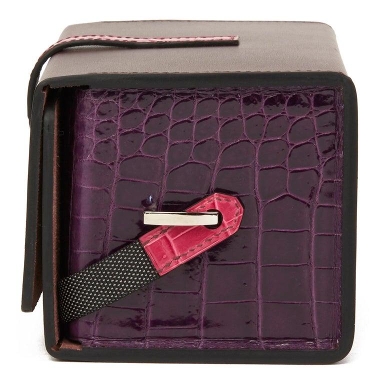 Black 2019 Hermès Amethyst Vache Hunter Cowhide & Shiny Crocodile Petit H Minaudiere  For Sale