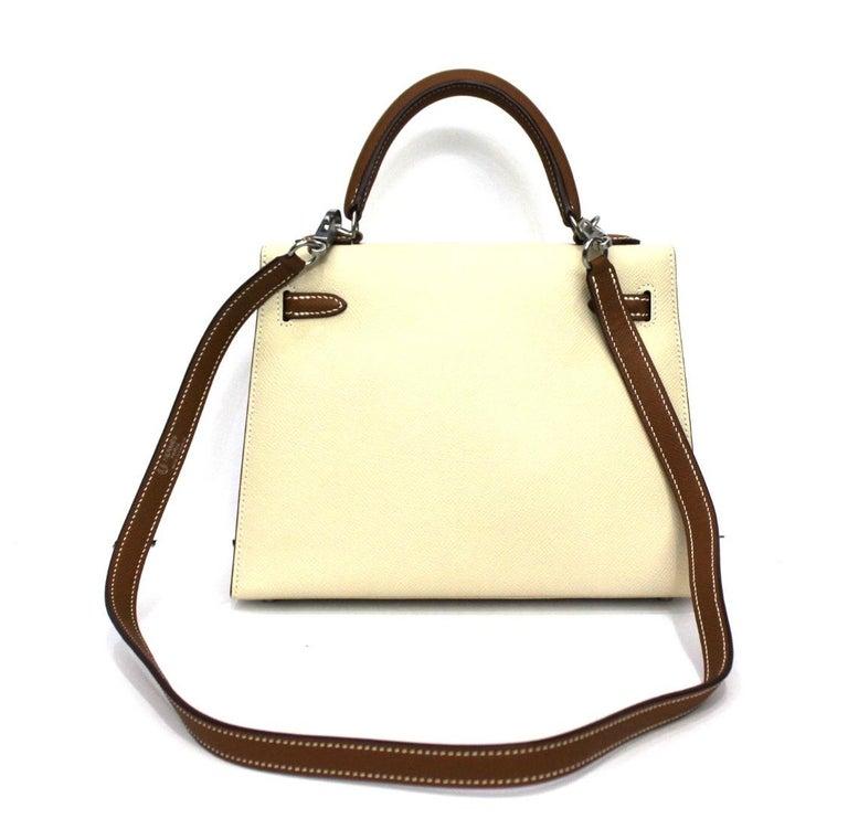 Orange 2019 Hermès Beige Leather Kelly 25 Bag For Sale