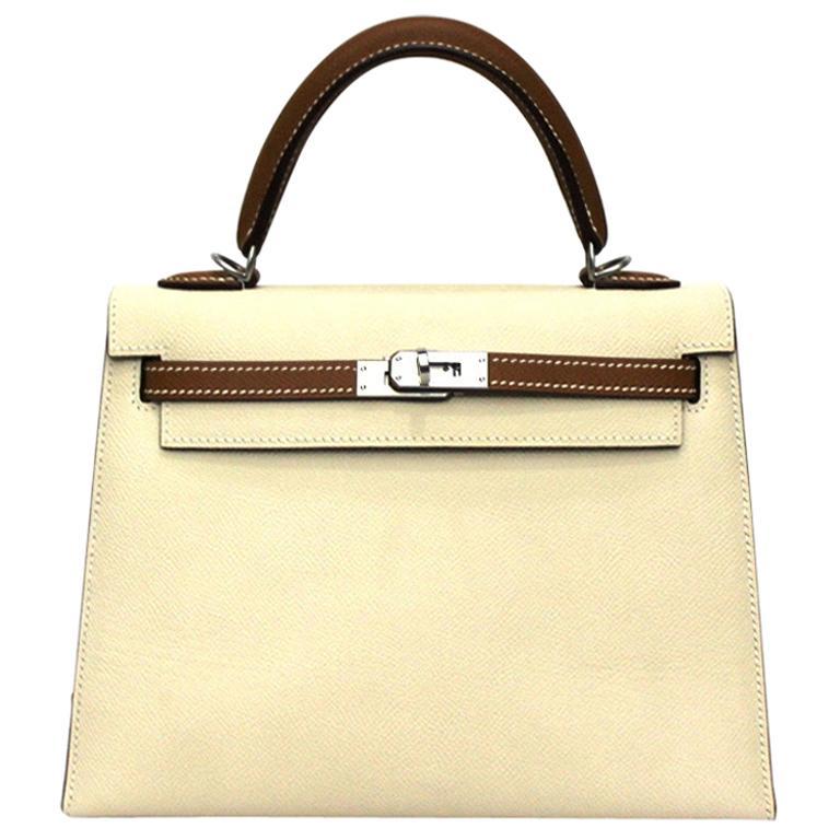 2019 Hermès Beige Leather Kelly 25 Bag For Sale