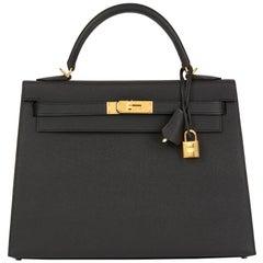 2019 HermèsBlack Epsom Leather Kelly 32cm Sellier