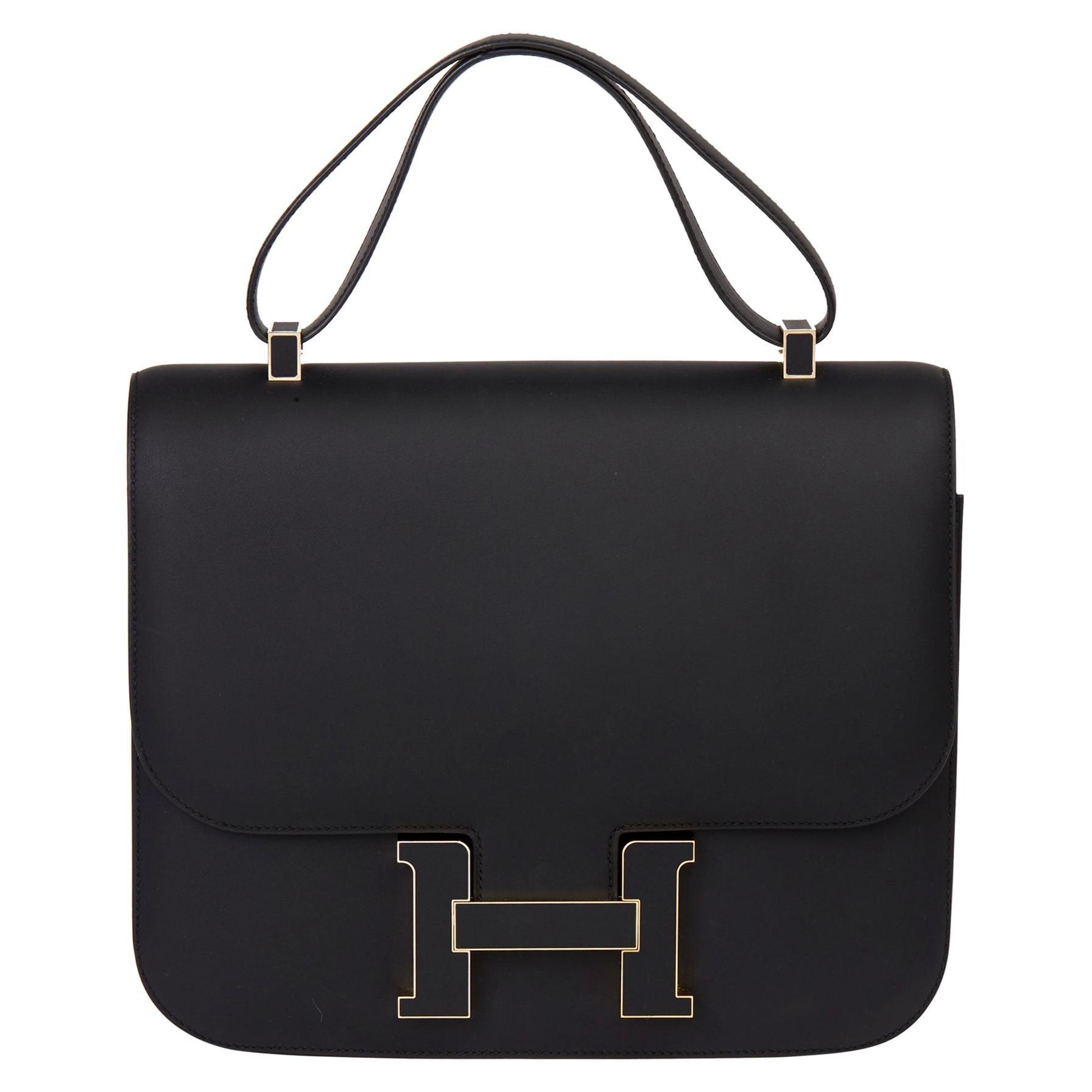 2019 Hermès Black Sombrero Leather Constance Cartable