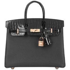 2019 HermèsBlack Togo Leather & Niloticus Crocodile Leather Birkin 25cm Touch