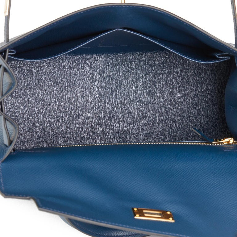 2019 Hermès Bleu de Malte Epsom Leather Kelly 28cm For Sale 6