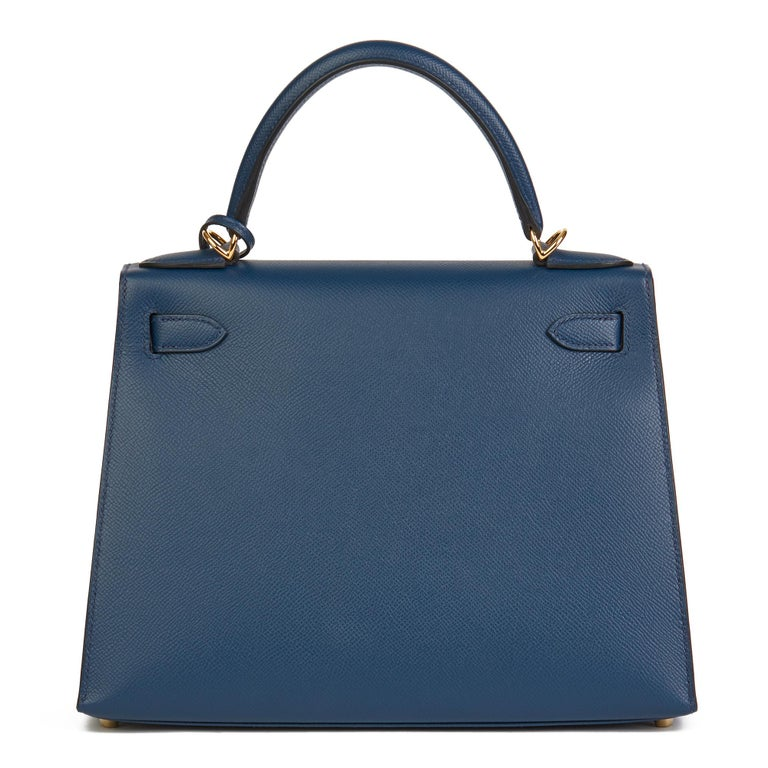 2019 Hermès Bleu de Malte Epsom Leather Kelly 28cm For Sale 1
