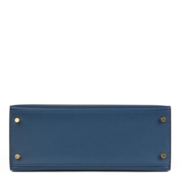 2019 Hermès Bleu de Malte Epsom Leather Kelly 28cm For Sale 2