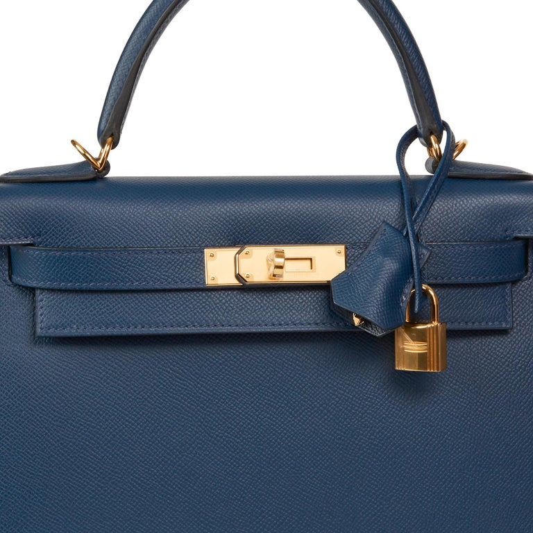 2019 Hermès Bleu de Malte Epsom Leather Kelly 28cm For Sale 3