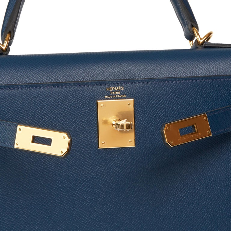 2019 Hermès Bleu de Malte Epsom Leather Kelly 28cm For Sale 4