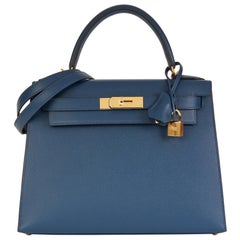 2019 Hermès Bleu de Malte Epsom Leather Kelly 28cm