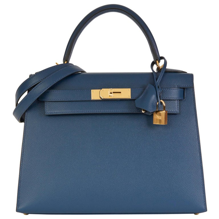 2019 Hermès Bleu de Malte Epsom Leather Kelly 28cm For Sale