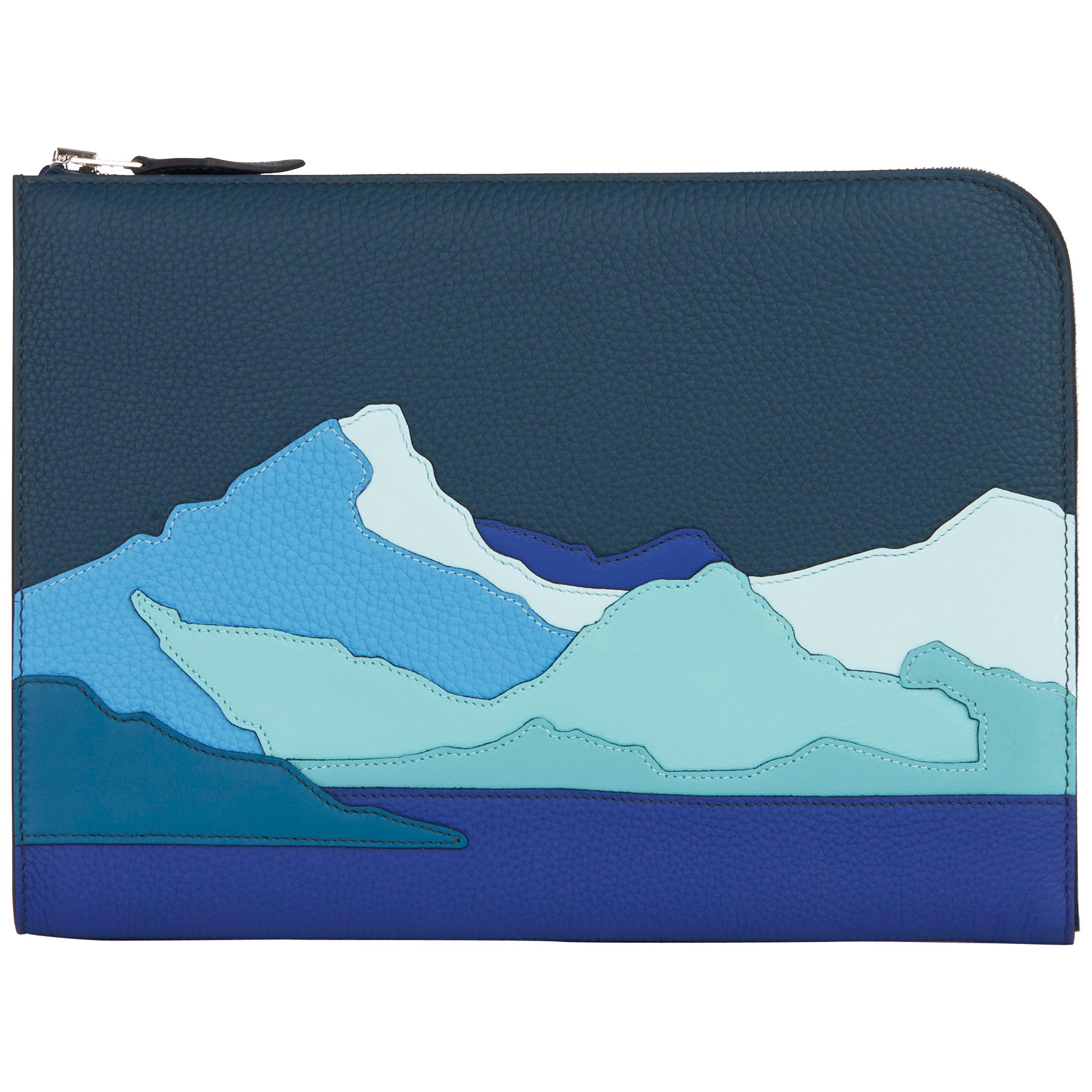 2019 Hermès Bleu de Prusse & Bleu Electric Togo Leather Endless Road Zip Tablet