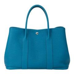 2019 Hermès Bleu Izmir Negonda Leather Garden Party 36cm