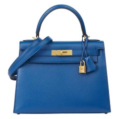 2019 Hermès Bleu Saphir & Vert Emeraud  Leather Special Order Kelly 28cm Sellier