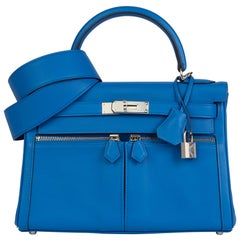 2019 Hermès Bleu Zellige Swift Leather Kelly 28cm Lakis