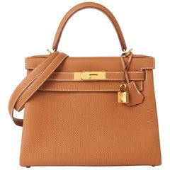 2019 Hermès Gold Togo Leather Kelly 28cm Retourne