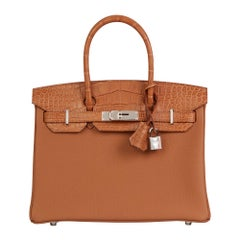 2019 Hermès Gold Togo Leather & Matte Mississippiensis Alligator Birkin 30 Touch