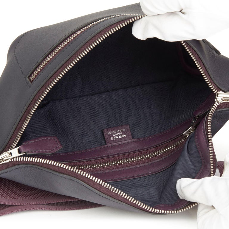 2019 Hermès Indigo & Raisin Cristobal, Veau Doblure Leather Cityslide Cross PM For Sale 5