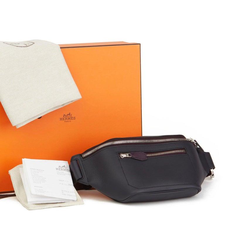 2019 Hermès Indigo & Raisin Cristobal, Veau Doblure Leather Cityslide Cross PM For Sale 6