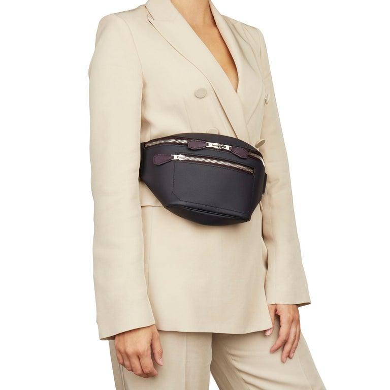 2019 Hermès Indigo & Raisin Cristobal, Veau Doblure Leather Cityslide Cross PM For Sale 7