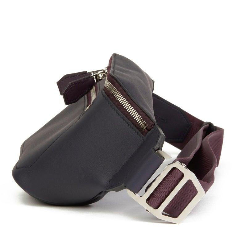 Black 2019 Hermès Indigo & Raisin Cristobal, Veau Doblure Leather Cityslide Cross PM For Sale
