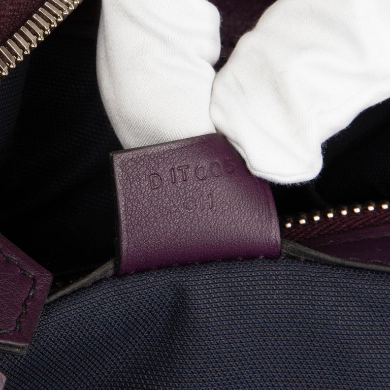 2019 Hermès Indigo & Raisin Cristobal, Veau Doblure Leather Cityslide Cross PM For Sale 4