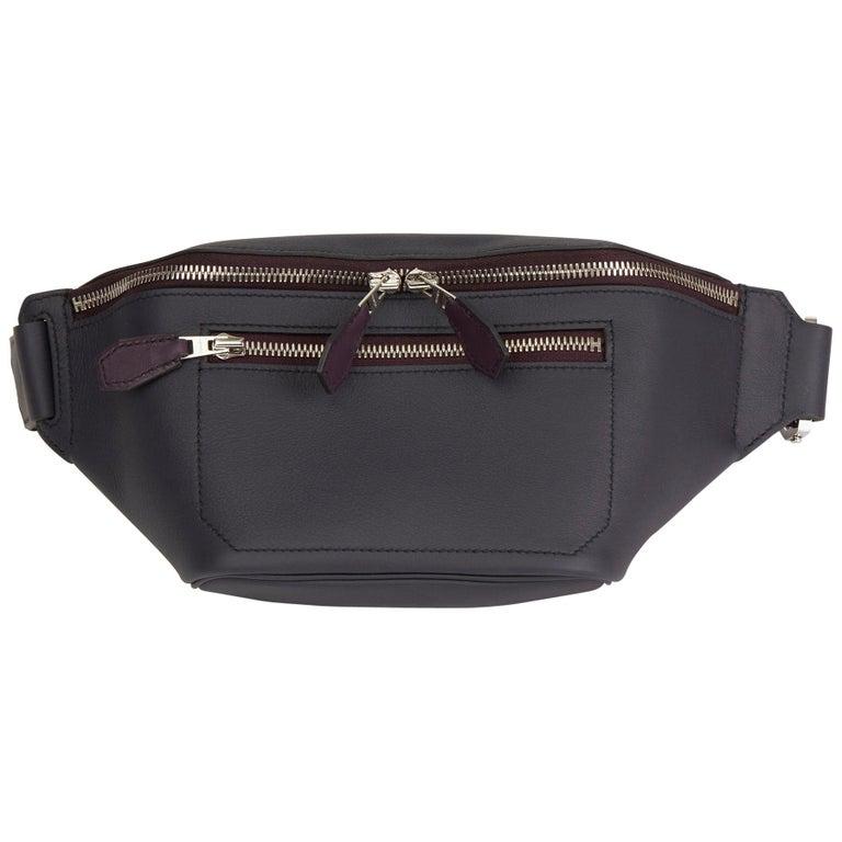 2019 Hermès Indigo & Raisin Cristobal, Veau Doblure Leather Cityslide Cross PM For Sale