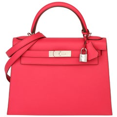 2019 Hermes Rose Extreme Epsom Leather Kelly 28cm Sellier