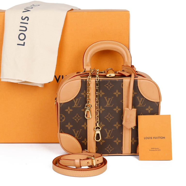 2019 Louis Vuitton Brown Monogram Coated Canvas & Vachetta Leather Valisette PM For Sale 10