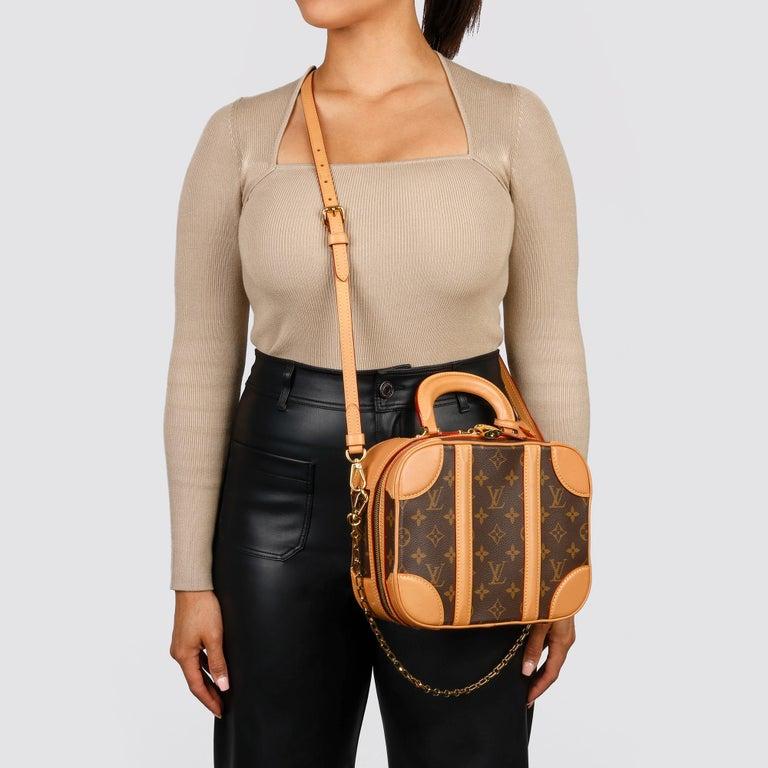 2019 Louis Vuitton Brown Monogram Coated Canvas & Vachetta Leather Valisette PM For Sale 11