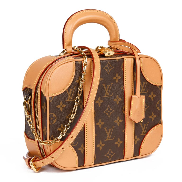 LOUIS VUITTON Brown Monogram Coated Canvas & Vachetta Leather Valisette PM  Xupes Reference: CB293 Serial Number: FL0199 Age (Circa): 2019 Accompanied By: Louis Vuitton Dust Bag, Box, Care Booklet, Invoice, Shoulder Strap, Chain, Padlock, Keys,