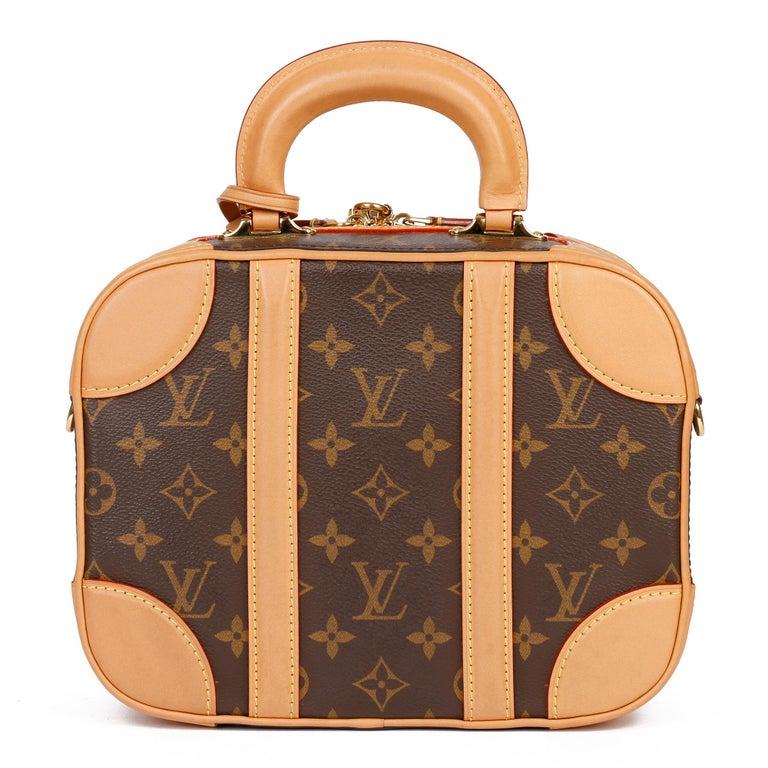 2019 Louis Vuitton Brown Monogram Coated Canvas & Vachetta Leather Valisette PM For Sale 1
