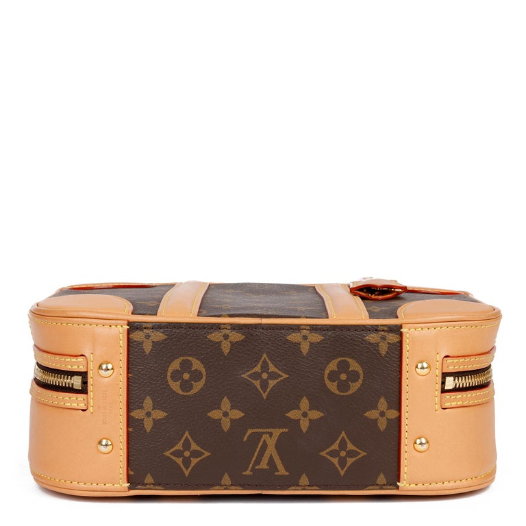 2019 Louis Vuitton Brown Monogram Coated Canvas & Vachetta Leather Valisette PM For Sale 2