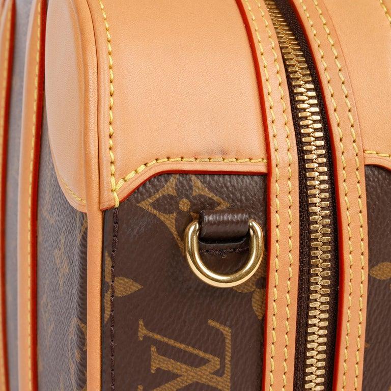 2019 Louis Vuitton Brown Monogram Coated Canvas & Vachetta Leather Valisette PM For Sale 3