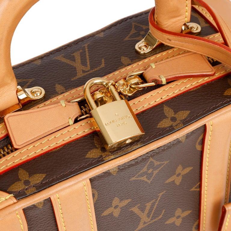 2019 Louis Vuitton Brown Monogram Coated Canvas & Vachetta Leather Valisette PM For Sale 4