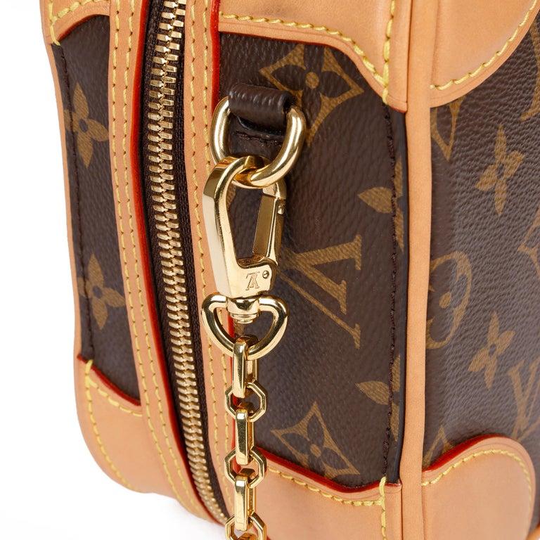 2019 Louis Vuitton Brown Monogram Coated Canvas & Vachetta Leather Valisette PM For Sale 5