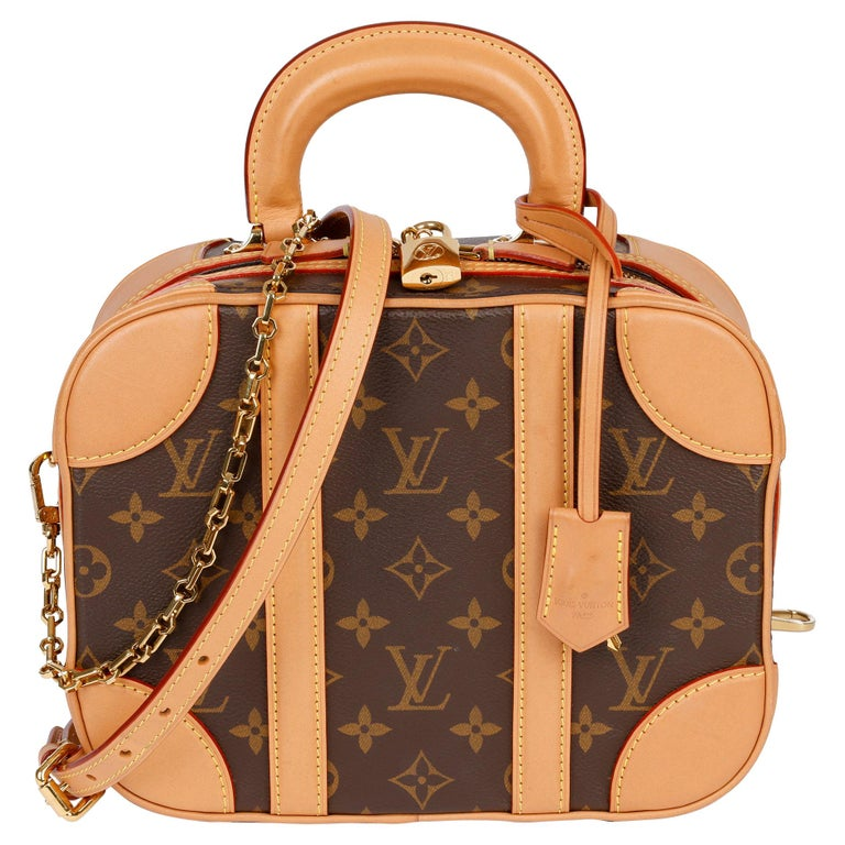 2019 Louis Vuitton Brown Monogram Coated Canvas & Vachetta Leather Valisette PM For Sale
